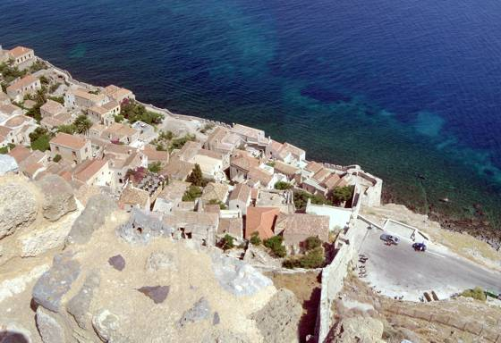 Sailing holiday locations in Greece: Looking down from the walls of the 'upper town' Monemvasia, over the walls and entrance to the 'lower town'