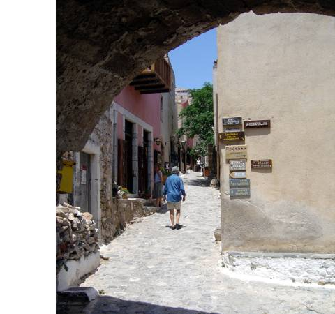Sailing holiday locations in Greece: Looking up the 'main street' of Monemvasia from the exit from the entrance tunnel through the town wall