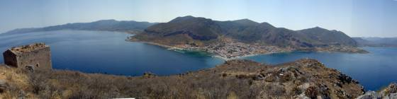 Sailing holiday locations in Greece: Looking back from the plateau on the top of Monemvassia towards the mainland and new town of Yerifa
