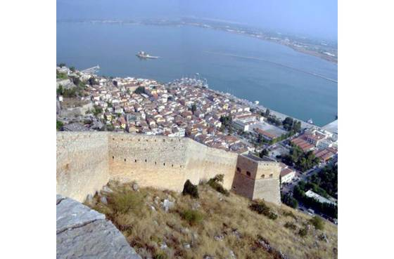 Sailing holiday locations in Greece: Looking down from the Palamidi at the town, harbour and Bourtzi fort