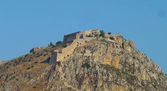 Sailing holiday locations in Greece: The Palamidi fortress sits above Navplíon and is well worth a visit