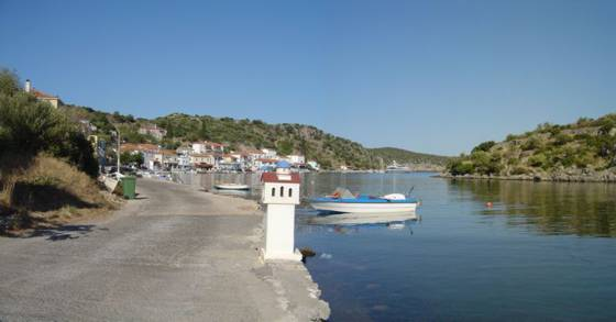 Sailing holiday locations in Greece: Looking towards the entrance of the 'fjord' from the narrows which lead to the lagoon