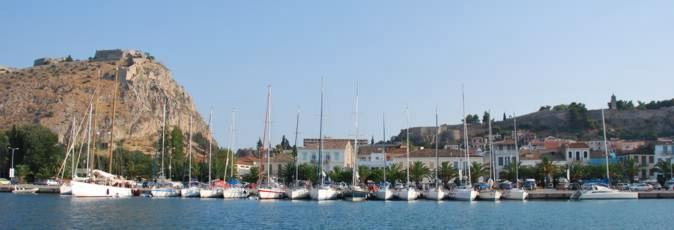 The waterfron at Navplion with the huge Venetian Palamidi fortress high above