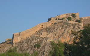 The stunning Venetian fortress of the Palamidi dominates above the city of Navplion, Greece