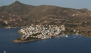 The pretty town & harour at Perdika on the south west tip of Aegina, Peloponnese, Greece