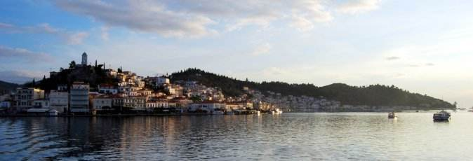 Poros, home to the Greek Sails flotilla & bareboat charter fleet, viewed from Límin Póros