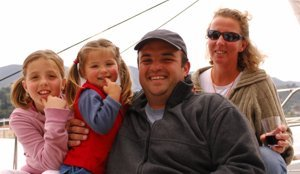 Richard Kouvaras and (some of) his family relax at the end of a 'Round the Island' race organised by Greek Sails