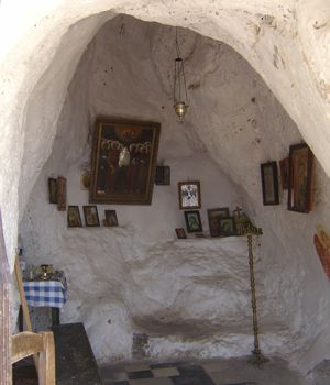 A chapel build into a small rock cave above Monemvasia, Peloponnese, Greece