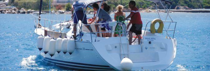 A new skipper takes out his charter yacht at the beginnig of his flotilla sailing holiday with Greek Sails