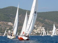 Yachts competing in the 2008 Round-the-Island race, going 'round the cans', Poros, Greece